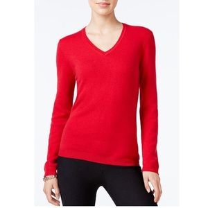Charter Club 100% Cashmere Red V Neck Sweater Sz S